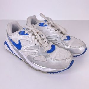 Nike Air White Grey Blue Lace Up Sneakers Kids